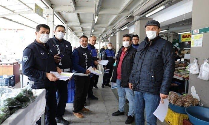 Pazar tezgahlarına koronavirüs önlemi