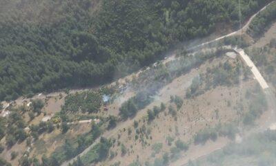 Askeri alanda çıkan yangın söndürüldü