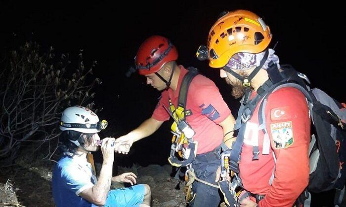Kayalıklarda mahsur kalan kişi kurtarıldı