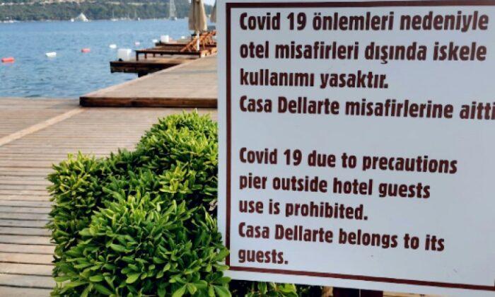 Casa Dell Arte Otel imar yolunu kapatmıştı şimdide iskeleyi kapattı vatandaş isyan etti