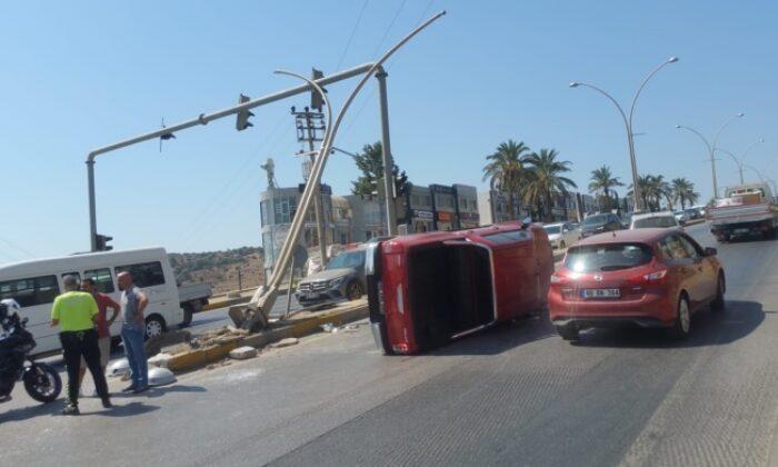 Bodrum'da trafik kazası ve araç yangını