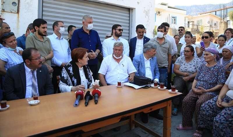 İYİ Parti Genel Başkanı Akşener, Muğla'da yangınlardan etkilenen mahalleleri ziyaret etti